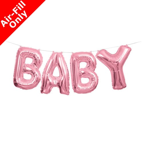 air fill pink baby foil balloon from cardiff balloon