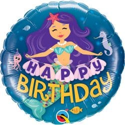 helium filled mermaid happy birthday foil balloon from cardiff balloons