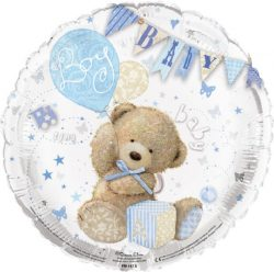 helium filled baby boy teddy foil balloon from cardiff balloons