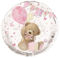 helium filled baby girl teddy foil balloon from cardiff balloons