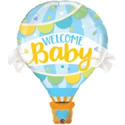 large helium filled welcome baby hot air balloon foil balloon from cardiff balloons