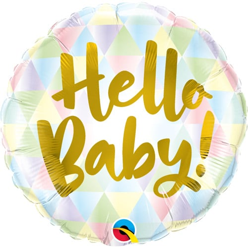 helium filled hello baby foil balloon from cardiff balloons