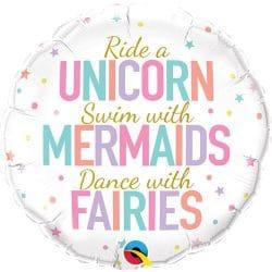 unicorn, mermaid and fairies helium foil balloon from cardiff balloons