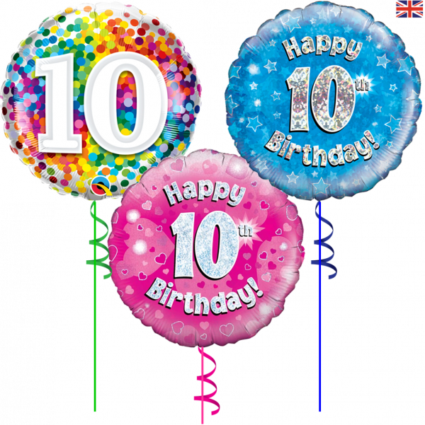 10th Birthday foil balloons from Cardiff Balloons