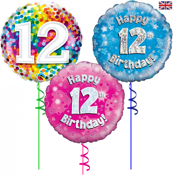 12th Birthday Helium Filled Foil Balloon From Cardiff Balloons