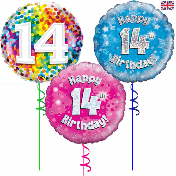 14th Birthday Helium Filled Balloon From Cardiff Balloons