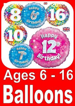Birthday Balloons In Ages 6-16