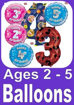 Birthday Balloons For Ages 2 - 5