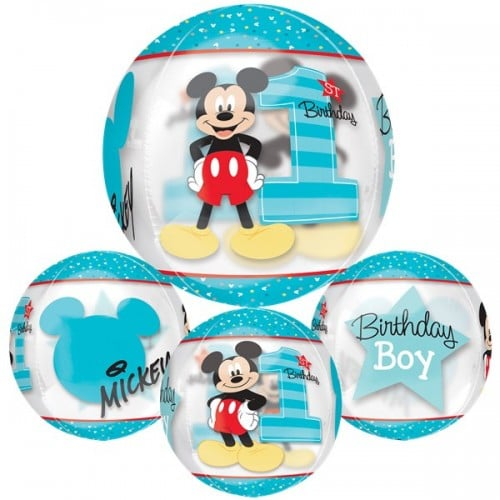 helium filled mickey mouse 1st birthday orbz balloon from cardiff balloons