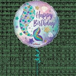mermaid tail happy birthday helium foil balloon from cardiff balloons