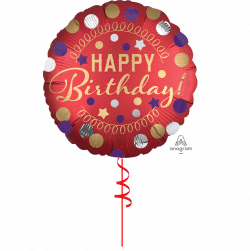 red spotty happy birthday helium foil balloon from cardiff balloons