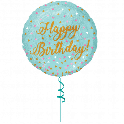 pale blue happy birthday helium foil balloon from cardiff balloons