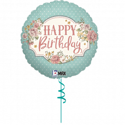 floral happy birthday helium foil balloon from cardiff balloons