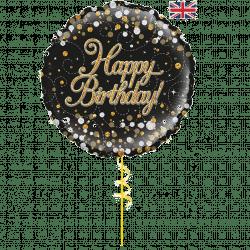 black happy birthday helium foil balloon from cardiff balloons