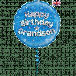 happy birthday grandson helium foil balloon from cardiff balloons