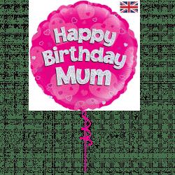 happy birthday mum helium foil balloon from cardiff balloons