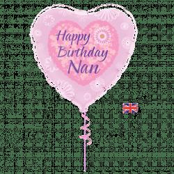happy birthday nan helium filled foil balloon