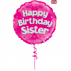 happy birthday sister helium foil balloon from cardiff balloons