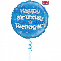 happy birthday blue teenager helium foil balloon from cardiff balloons