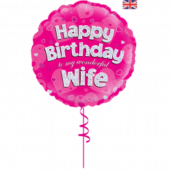happy birthday wife helium foil balloon from cardiff balloons