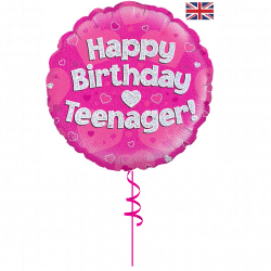 happy birthday pink teenager helium foil balloon from cardiff balloons