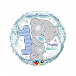helium filled teddy 1st birthday foil balloon from cardiff balloons