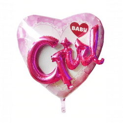helium filled baby girl foil balloon from cardiff balloons