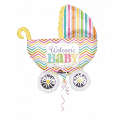 helium filled welcome baby pram foil balloon from cardiff balloons