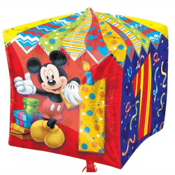 large helium filled mickey 1st birthday cube foil balloon from cardiff balloons