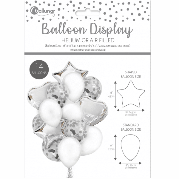 Silver And White Balloon Bouquet From Cardiff Balloons