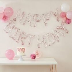 Happy Birthday Balloon Banner In Rose Gold Confetti From Cardiff Balloons