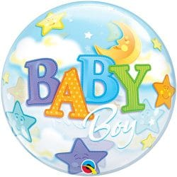 helium filled baby boy bubble balloon from cardiff balloons