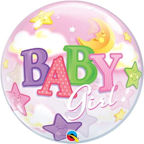 helium filled baby girl bubble balloon from cardiff balloons