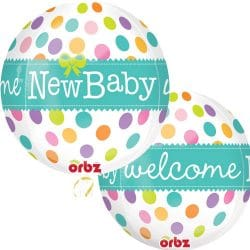 helium filled welcome baby orbz balloon from cardiff balloons