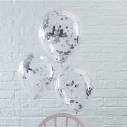 Silver Confetti Latex Balloons From Cardiff Balloons