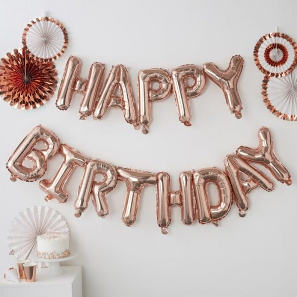 Happy Birthday Letter Banner In Rose Gold From Cardiff Balloons