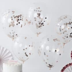 Rose Gold Confetti Latex Balloons from Cardiff Balloons