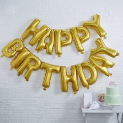 Happy Birthday Letter Banner In Gold From Cardiff Balloons