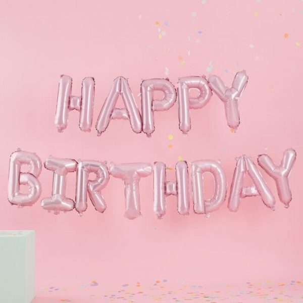 Happy Birthday Letter Banner In Pink From Cardiff Balloons