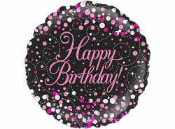 helium filled black with pink spots happy birthday foil balloon from cardiff balloons