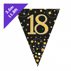 18th Birthday Bunting Black And Gold