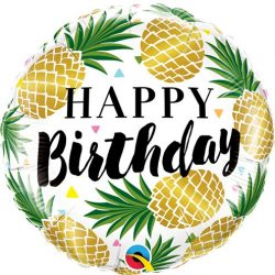 helium filled happy birthday pineapple foil balloon from cardiff balloons