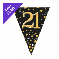 21st Birthday Bunting Black and Gold