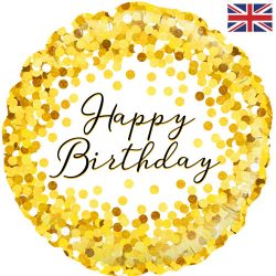 helium filled gold spots happy birthday foil balloon from cardiff balloons