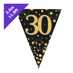 30th Birthday Bunting In Black and Gold