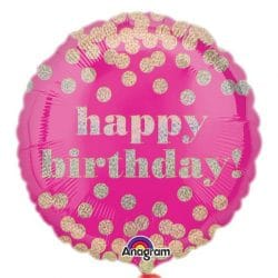 helium filled pink spotty happy birthday foil balloon from cardiff balloons