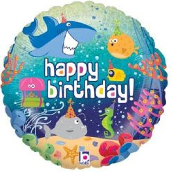 helium filled under the sea happy birthday foil balloon from cardiff balloons