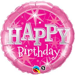 helium filled happy birthday pink sparkle foil balloon from cardiff balloons
