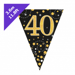 40th Birthday Bunting In Black And Gold