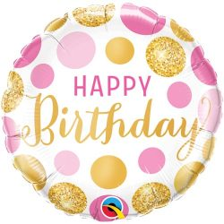helium filled pink and gold spotty happy birthday foil balloon from cardiff balloons